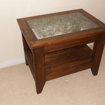 solid wood art glass table, Edmonton