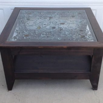 solid wood art glass table, Alberta