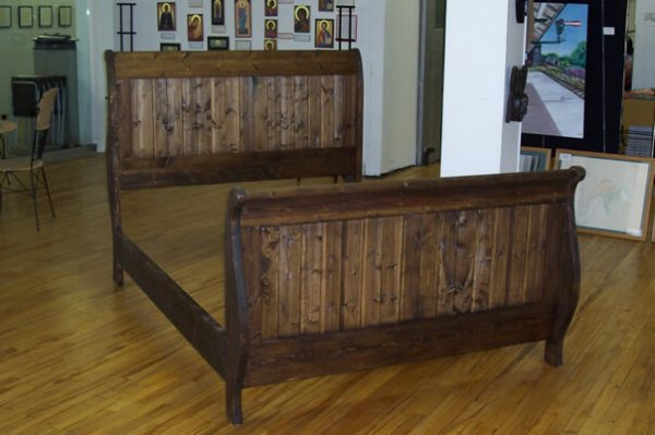wood Sleigh Bed, Alberta