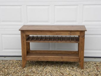 solid wood tray table with wine rack, Alberta